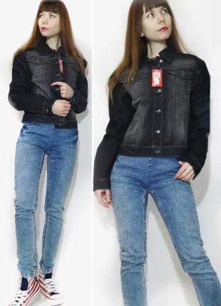 Куртка джинсовая черная классическая ветровка летняя легкая короткая