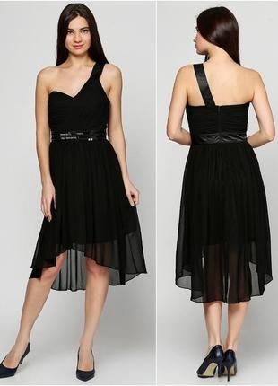 Вечернее платье чёрное шифоновое нарядное коктейльное бюстье летнее клубное