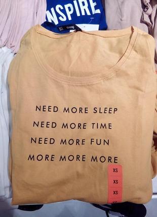 Новая желтая футболка sinsay need more sleep нужно больше сна времени веселья xs l xl