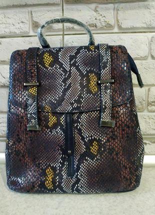 Кожаный натуральный рюкзак фиолетовый
