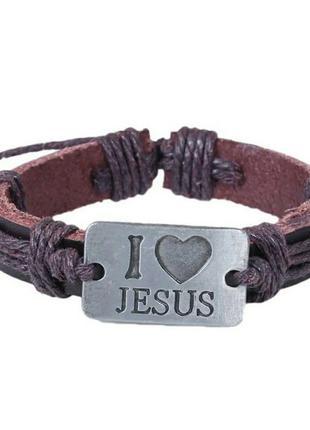 """Стильный плетёный кожаный браслет с надписью """"i love jesus"""""""
