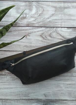 Поясгая сумка бананка из натуральной кожи