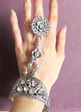 🏵нарядный эффектный браслет с кольцом панжа в восточном стиле, новый! арт. 3240