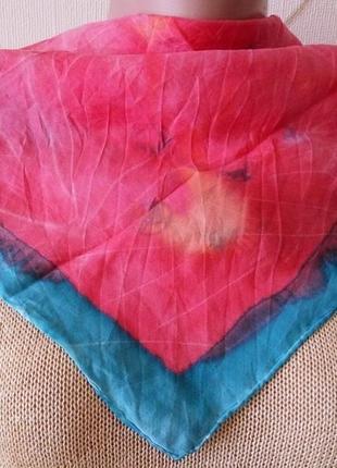 100% натуральный шелк . шейный платок платочек косынка . батик