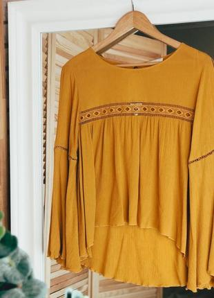 Блуза вискоза горчичная желтая в этническом стиле размер s m
