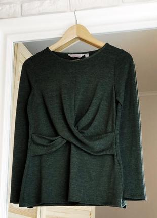 Зеленый джемпер хаки с длинным рукавом размер м