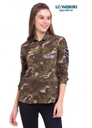 Рубашка асимметричная с нашивками камуфляжная lc waikiki