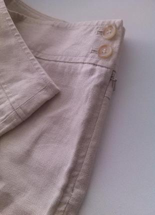 100% лён бежевые брюки (клеш, палаццо, кюлоты) marks & spencer