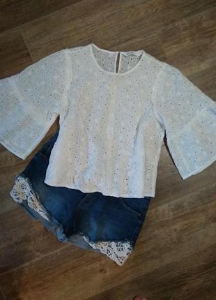 Ажурная блуза блузка с расклешенными рукавами от zara