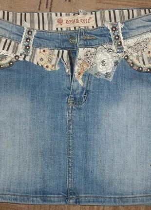 Стильная джинсовая мини-юбка rosa&rose