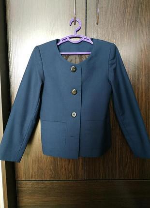 Классический школьный жакет/пиджак для девочкт синий