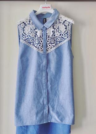 Хлопковая рубашка с кружевом h&m джинсовая рубашка