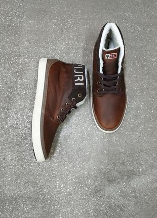 Бомбезные кожаные зимние ботинки, сапоги от napapijri, напапири, шкіра