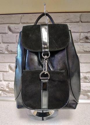 Шикарный кожаный рюкзак с замшей