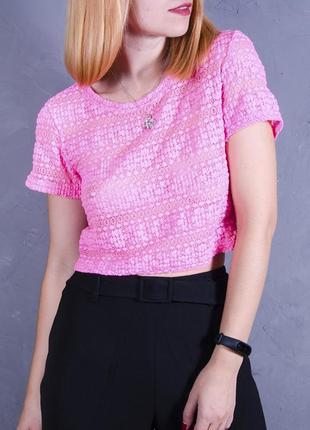 Кружевной кроп топ, короткая футболка, розовая футболка, шифоновая футболка
