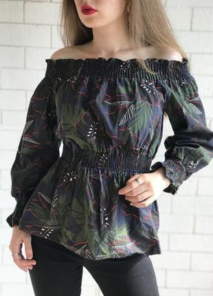 Блуза, топ в принт,открытые плечи, на резинках , new look ,хс с