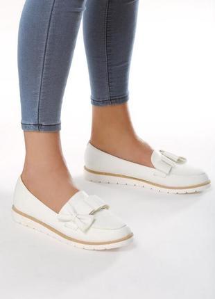 Новые шикарные женские белые туфли лоферы балетки