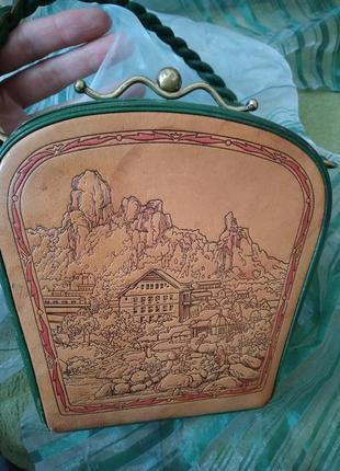 Уникальная винтажная музейная коллекционная сумка из кожи раритет xx век6 фото