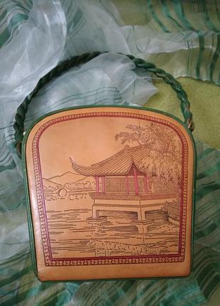 Уникальная винтажная музейная коллекционная сумка из кожи раритет xx век8 фото