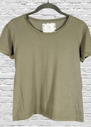 Оливковая однотонная футболка, женская футболка базовая зеленая