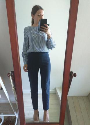 Идеальные классические синие брюки нави неви на высокой талии посадке