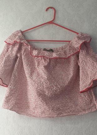 Рубашка zara в полоску с воланами блузка  футболка