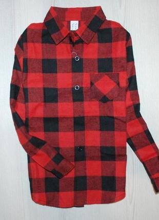 Рубашка в красно-черную клетку на 11-15лет