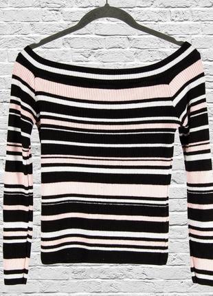 Женский свитер рубчик, полосатый свитер с оголенными плечами