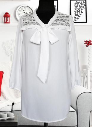 Блуза с кружевной кокеткой и бантом vero moda