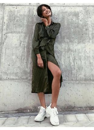 Распродажа ! zara новая коллекция ! сатиновое платье-рубашка