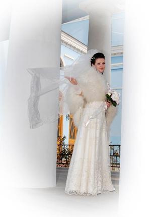 Свадебное платье 46р укр верх вышивка бисер, очень утонченное