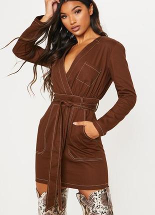 Стильное повседневное осеннее платье , плотный коттон, шоколадного отттенка