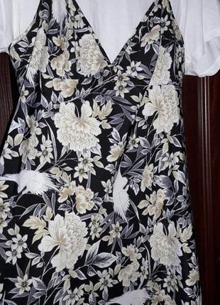 Платье сарафан на бретельках в цветочный принт,принт птицы,сарафан под белую футболку
