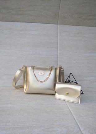 Набор клатч + кошелечек золотого цвета handmade