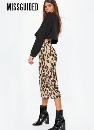 Новая леопардовая юбка с нахлестом и бантом missguided