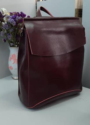 Рюкзак бордовый натуральная кожа farfalla rosso