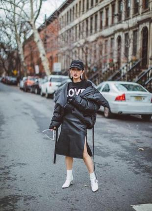 Куртка асимметричная на запах с поясом черная деми оверсайз косуха одеяло