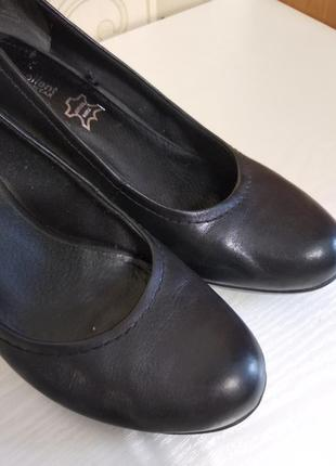 Кожаные туфли на устойчивом каблуке, excellent, 26cм