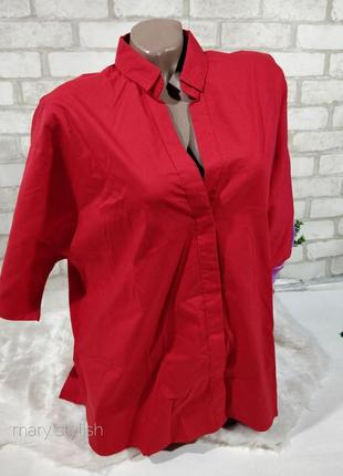 Красная рубашка оверсайз