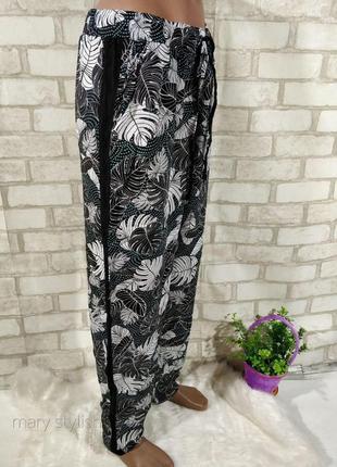 Удобные вискозные штаны с лампасами модный принт тропика тропические листья