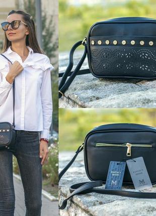 Стильная чёрная женская сумочка с камнями love dream