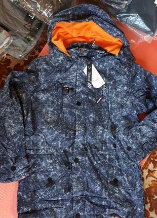 Куртка ветровка на флисе темно синий джинс венгрия