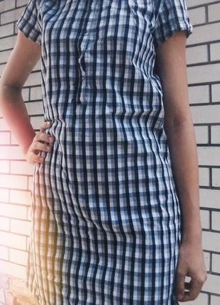 Платье сарафан в клетку рубашка черно-белое