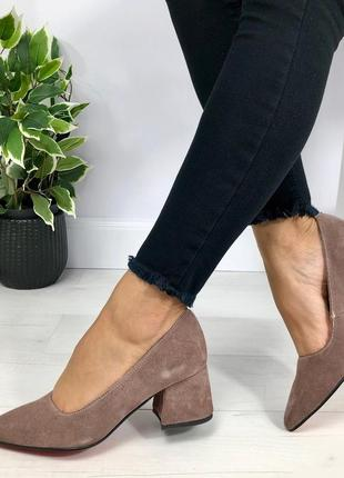 Натуральный замш люксовые туфли шоколад на среднем каблуке