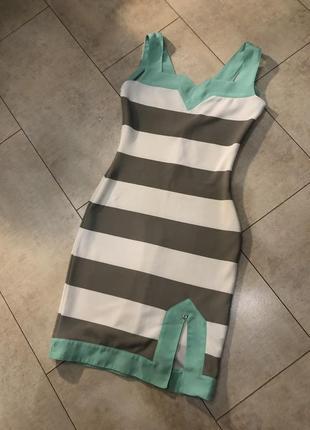 Бандажное платье в полоску