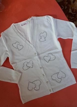 Нежный кардиган нарядная кофточка с сердечками