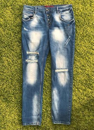 Потертые стильные джинсы с разрезами турция l