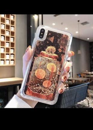 Чехол iphone 7plus 8plus медвежонок и апельсины