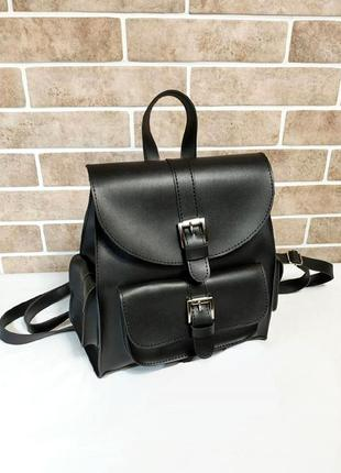 Стильный черный городской рюкзачок из эко-кожи с карманами вместительный рюкзак6 фото