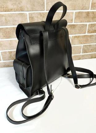 Стильный черный городской рюкзачок из эко-кожи с карманами вместительный рюкзак7 фото